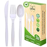 Disposable Compostable Cutlery Set-360 Bulk Pack of Eco Friendly Knives, Forks, Spoons-Large FDA Certified, GMO Free-For Parties, Weddings, Catering- Heavy-Duty Utensils Natural Flatware Sets