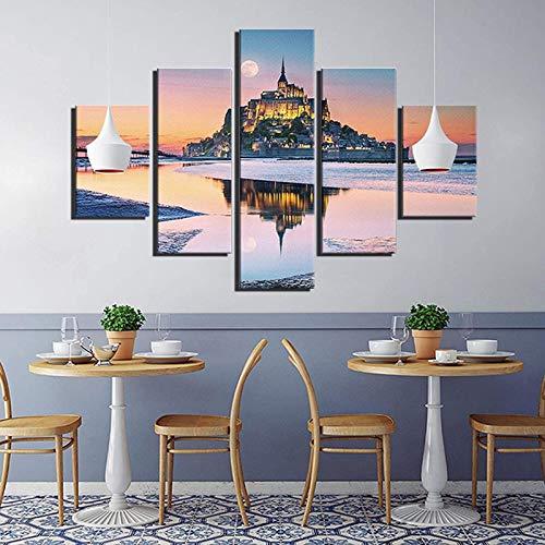 5 Stück Leinwand Wandkunst Berg Reflexion Sonnenuntergang 3D Dekoration Ölgemälde HD Print Modern Artwork Bild Für Wohnzimmer,A-30×40x2+30×60x2+30x80×1