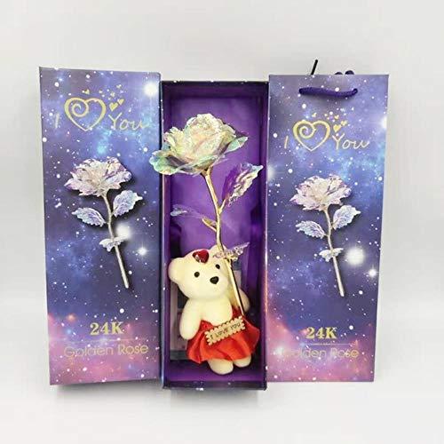 Nieuwe romantische Galaxy Rose bloem met liefde Base Stand cadeau voor vrienden Valentines verjaardagen huwelijksverjaardag, A1, China