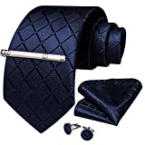 DiBanGu Men's Silk Tie and Pocket Square Navy Woven Tie Cufflink Set Business