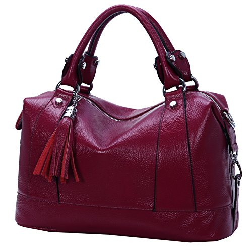 Heshe Leather Shoulder Bag Womens Tote Top Handle Handbags Cross Body Bags for Office Lady (Purple Red)