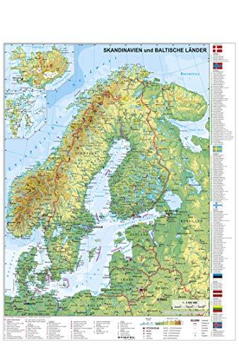 Skandinavien und Baltikum physisch - Wandkarte / Poster
