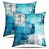 Eneston Teal Turquoise Pillow Covers and Blue Grey Home Decorative Throw Pillow Covers 18 x 18 Inch Set of 2 Accent Pillow Covers for Living Room Couch Sofa Bedroom Décor