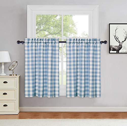 Haperalre Classic Buffalo Plaid Cotton Blend Cafe Curtains 36 Inches Length Check Gingham Pattern Yarn Dyed Rod Pocket Short Tier Kitchen Curtain Bathroom Window Curtains, Blue, Set of 2