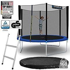 Kinetic Sports Outdoor Garden Trampolin, 305 cm, TPLS10, inklusive hoppduk från USA PP-Mesh +skyddsnät +kant och regnskydd +stege, upp till 160kg, GS-testad, UV-resistent, BLÅ