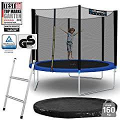 Kinetic Sports Outdoor Garden Trampoline, 305 cm, TPLS10, inclusief springdoek van USA PP-Mesh +vangnet +edge en regendek + ladder, tot 160 kg, GS-getest, UV-bestendig, BLAUW*