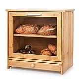 Brotkästen aus Bambus, 2-Lagiger Brot Box Aufbewahrungscontainer mit Frontdeckel und transparentem Fenster, Brotbehälter Brotdose für Küchen