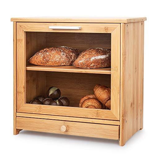Brotkästen aus Bambus, 2-Lagiger Brot Box Aufbewahrungscontainer mit Frontdeckel und transparentem Fenster, Selbst Bauen Brotbehälter Brotdose für Küchen