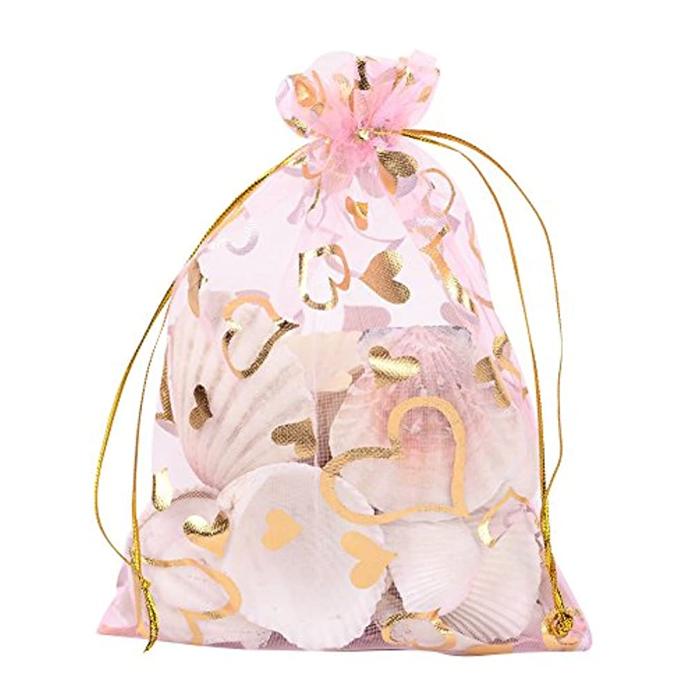 Pandahall 100 PCS 5x7 Inches Heart Printed PeachPuff Organza Bags Jewelry Pouch Bags Organza Velvet Drawstring Pouches Wedding Favors Candy Gift Bags