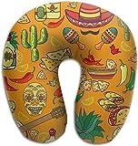 Hdadwy Almohada de Espuma viscoelástica para el Cuello México Guitar Pepper Almohada de Viaje en Forma de U Diseño ergonómico Contorneado Funda Lavable para avión Tren Coche Autobús Oficina