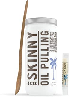 SKINNY and CO. 100% Raw Oil Pulling KIT - Peppermint Coconut Oil for Healthier Teeth and Gums - Natural Teeth Whitening   Wooden Bamboo Spoon & Coconut Lip Balm (8.5 Oz)