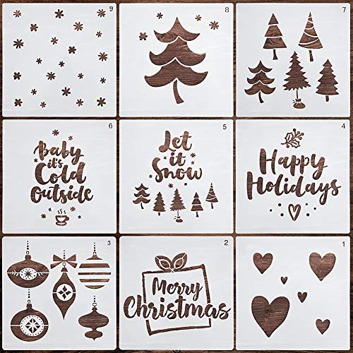 Christmas Stencils 9PCS – Merry Christmas Stencil – Premium Painting Stencils – Lovely Christmas Décor – Heavy Duty and Durable – Easy to Use – Perfect for DIY, Arts and Crafts, Home Decorations