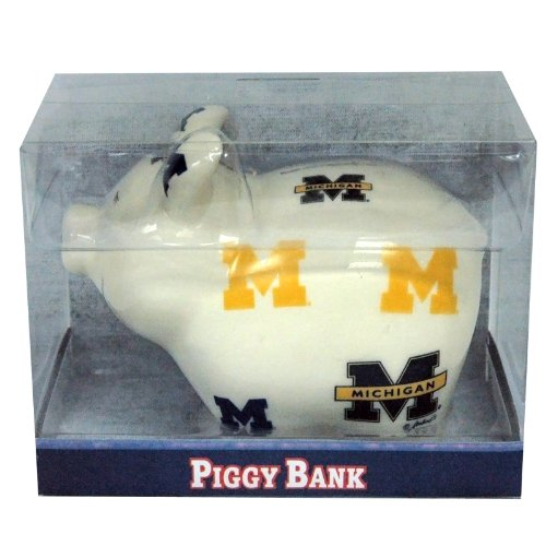 NCAA Michigan Wolverines Piggy Bank with All Over Logo