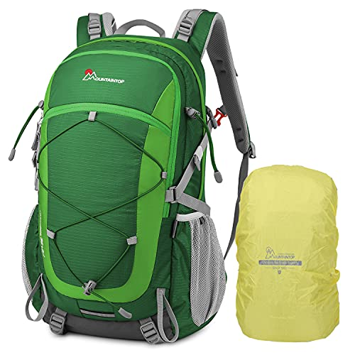 MOUNTAINTOP 40L Wanderrucksack Herren Damen Trekkingrucksack Reiserucksack mit Regenhülle Multifunktionale Outdoor Camping Klettern Rucksäcke (40L-Grün)