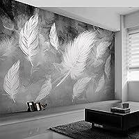 カスタム3D自己接着壁紙モダンシンプルな白い羽写真壁画リビングルーム寝室家の装飾絵画防水,300(W)*210(H)Cm