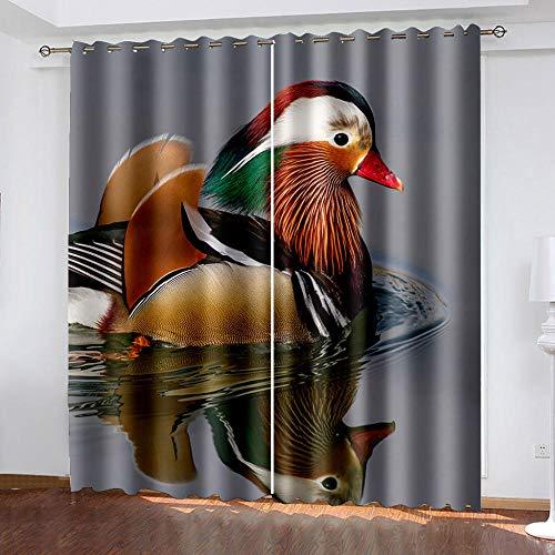 DRFQSK Cortinas Infantiles Impresión Digital Pájaro Animal 3D Cortinas Opacas Termicas Aislantes Cortinas Dormitorio Moderno con Ollaos, 2 Paneles 234 X 230 Cm(An X Al)