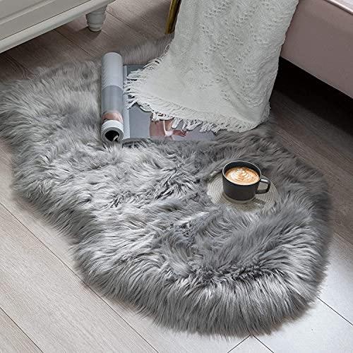 HEQUN Faux Lammfell Schaffell Teppich Kunstfell Dekofell Lammfellimitat Teppich Longhair Fell Nachahmung Wolle Bettvorleger Sofa Matte (Grau, 75 X 120 cm)