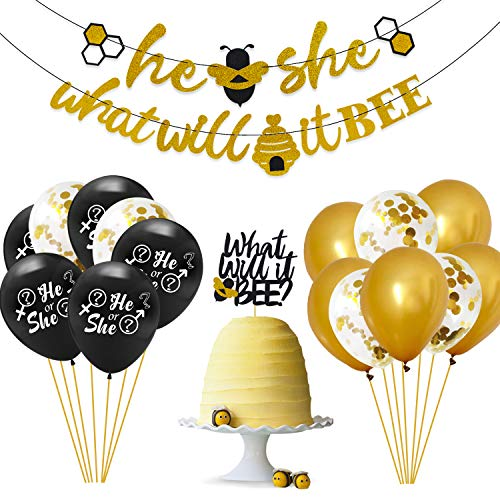 What Will It Bee Gender Reveal Party Decorations Set - He or She Bee Banner,Bumble Bee Cake Topper,12' Black Gold Confetti Latex Balloons,Boy or Girl Themed Baby Shower Party Glitter Ornaments