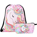 INTVN 2pcs Unicorn Drawstring Bouquet Pocket Bundle Bag para Funda cosmética de Fitness (Rosa)
