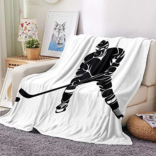 SHHSGZ Eishockey Decke Kinder Decke sofadecke plüsch Decke Flauschige kuscheldecke bettüberwurf für Sofa und Couch bettwäsche Wolldecke-80x100cm