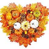 Zucca Artificiali, 88 Pezzi decorazioni autunnali Per Il Ringraziamento Halloween, Foglie Di Acero Artificiali, Zucche, Ghiande Piccole, Pigne Per Decorazioni Festa Autunnali Casa