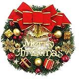 De Navidad Corona De Navidad Colgante Artificial De La Guirnalda De La Guirnalda Con El Ornamento De La Puerta Del Bowknot Campanas Frente Para La Pared De Las Flores Artificiales Para La Decoración