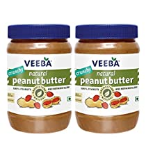 VEEBA Natural Peanut Butter Crunchy – Unsweetened, (100% Peanuts) Jar, 2 X 1000 g