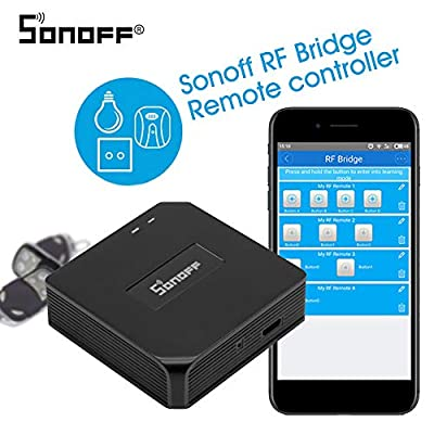 Sonoff RF Bridge 433MHZ Wifi Wireless Intelligent Wi-Fi Remote RF Controller Automation Module Switch For Smart Home safety Compatible with Alexa Google Home