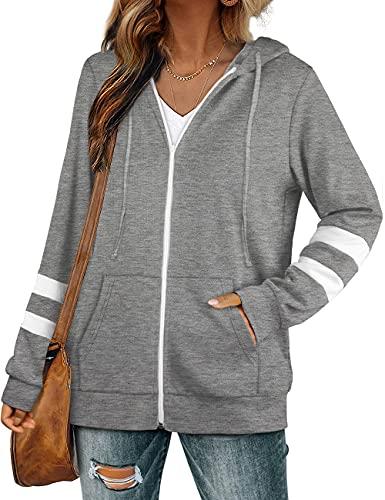 Womens Active Hoodies Long Sleeve Zip Up Sweatshirts with Pocket Jackets Oversized Gray XXL