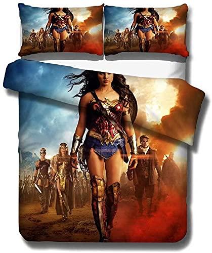 Wonder Woman - Juego de cama (3 piezas, 200 x 200 cm + 50 x 75 cm, 2 fundas de almohada)