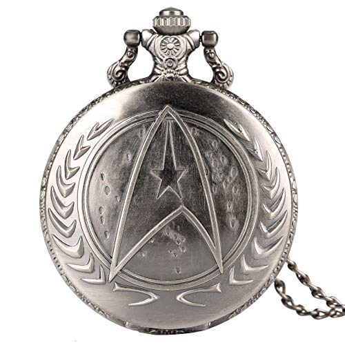 Silver Star Trek Reloj de bolsillo para hombre, reloj de bolsillo de cuarzo, relojes Crearive para niños