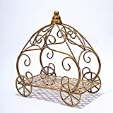 BalsaCircle 11-Inch Tall Gold Cinderella Carriage Stand Centerpiece - Wedding Reception Birthday Party Home Decorations Wholesale
