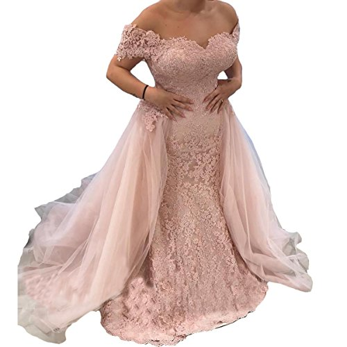 Yuxin Gorgeous Lace Prom Dress Off Long A Line Evening Dress Party Gowns 16 Blush