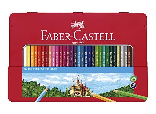 Faber-Castell 115886 - Buntstifte Hexagonal, 36er Metalletui