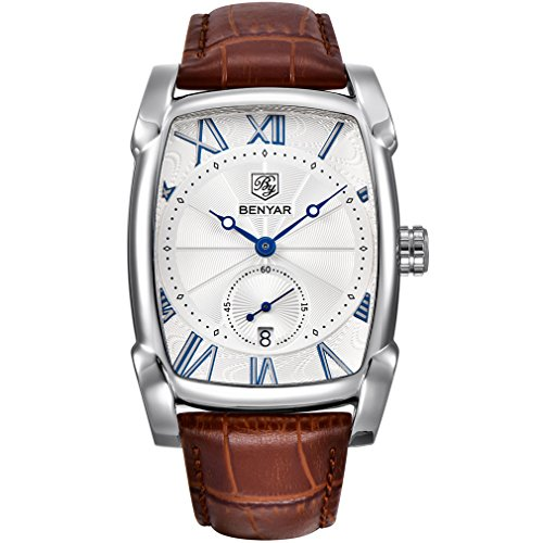 BENYAR Waterproof Classic Rectangle Case Vintage Design Watches Leather Strap Business Casual Wrist Watch for Men (White)