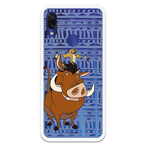 Funda para Xiaomi Redmi Note 7-Note 7 Pro Oficial de El Rey León Timón y Pumba Silueta para Proteger tu móvil. Carcasa para Xiaomi de Silicona Flexible con Licencia Oficial de Disney.