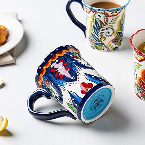 PPuujia Taza de leche de 500 ml grande bohemia taza de cerámica para desayuno, café, leche, té, frutas y jugo de pareja, herramienta para beber, color azul