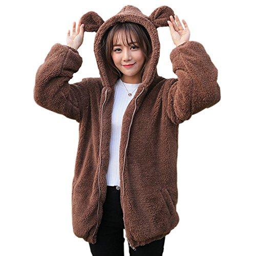 Siehin Damen süßer bär Ohren Montana Damenvlies Mikro Fleece Jacke Pullover kuschelig warm sportlich (EU M =Asia L, Kaffee)