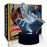KangYD Escorpión de luz nocturna 3D, lámpara de atmósfera LED, decoración para el hogar para niños, E - Base para despertador (7 colores), Lámpara de ilusión óptica, Lámpara cálida, Alta calidad