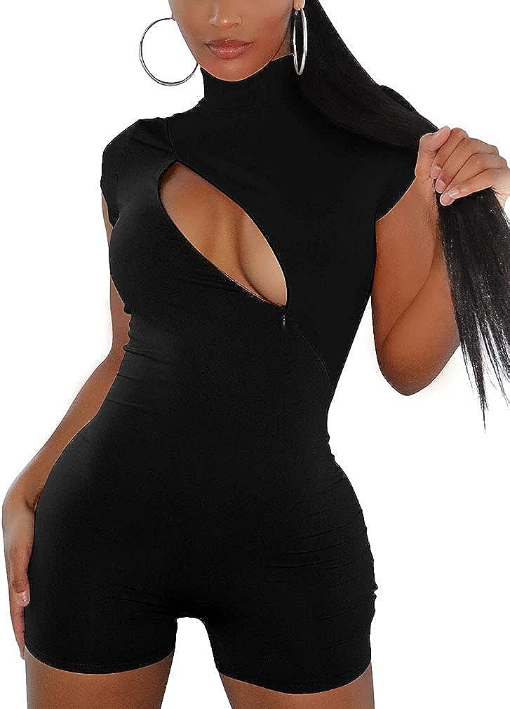 YMDUCH Women's Sexy Turtleneck High order Short Cutout Zipper Sleeve Bodyco [Alternative dealer]