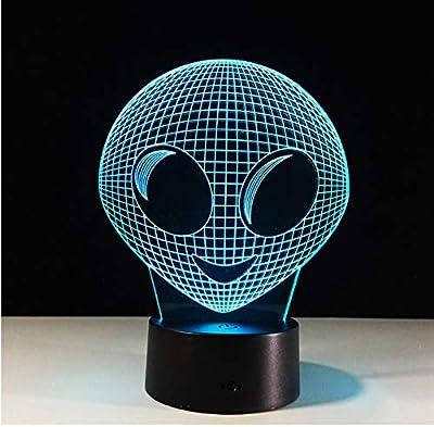 Alien Head 3D Hologram Illusion Lámpara única Acrílico Luz de ...