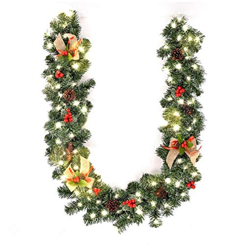 Hzemci Christmas Garland - 1.8M Christmas Realistic Artificial Garland, Home Window Garland with LED Lights, Christmas Greenery Garland, Holiday Garland for Home, School, Office, Hotel, Bar