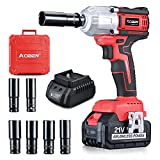 AOBEN 21V Cordless High Torque Impact Wrench 1/2 inch, Powerful Brushless Motor with Max Torque 450 ft-lb (600N.m), 4.0Ah Battery, 6 PCS Sockets (17-22mm), Fast Charger and Tool Box