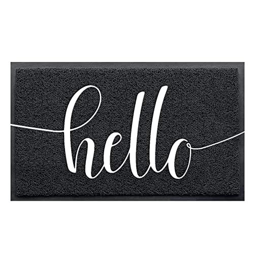 """Door Mat (30""""x17.5"""",Black), AHQ Durable Welcome Mat Low Profile Floor Mat Front Doormat Indoor Outdoor Doormat Non Slip Rugs for Entryway"""