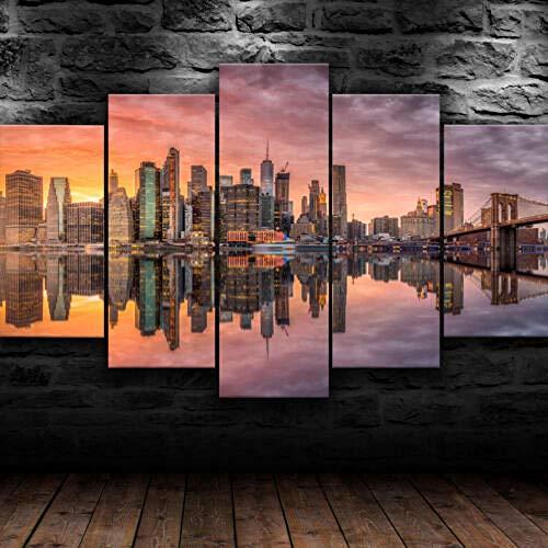 Siluyu- Stampe e Quadri su Tela New York City 5 Pezzi di Pittura,Arte Moderna,Adesivo Stampa HD,Componibile Mural,Casa Decorazioni,Regalo Taglia,L:100 * 55Cm Regalo di Natale