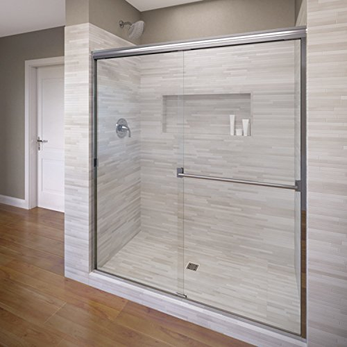 Basco Classic Sliding Shower Door, Fits 40-44 inch opening, Clear Glass, Silver Finish