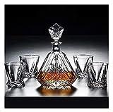 Decantador Set Decantador De Whisky Decantador De Vino Decantador De Vino De 5 Piezas Juego De Vasos De Decantador De Whisky 100% Vaso De Cristal Decantador De Whisky 650Ml con Cubierta De Vidrio So