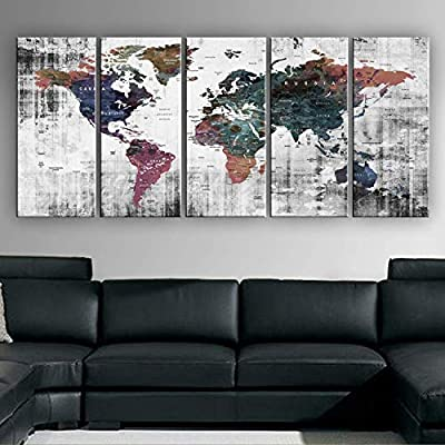 "Original by BoxColors Xlarge 30""x 70"" 5 Panels 30x14 Ea Art Canvas Print Watercolor Old Map World Push Pin Travel Wall decor (framed 1.5"" depth) M1809 from"