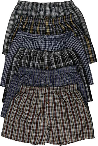 ToBeInStyle Men's 3 Pack Classic Multicolored Checkered Woven Boxer Shorts w/Button - XL