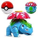 FYH Shop Pokemon Toys Set Pocket Monster Pikachu Figura De Acción Pokemon Juego Poke Ball Ball Modelo Charmander Anime Figura Recolectora Juguete Niños Regalo-Flor De Ranas